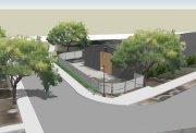 projekt domu ogrodzonego płotem panelowym